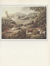 """1974 Vintage FOX HUNTING """"THE BILSDEN COPLOW DAY"""" w/ HOUNDS COLOR Art Lithograph"""