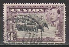 CEYLON 1938 KGVI ELEPHANTS 50C PERF 14 USED