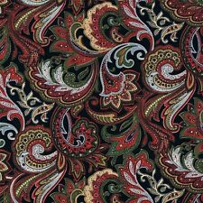 150cm Wide Red Green Multi-coloured Paisley Print Cotton Poplin Fabric