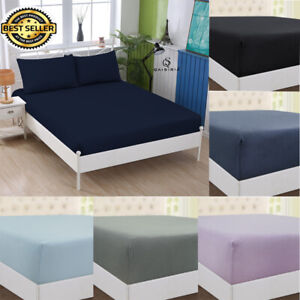 100% Brushed Cotton Flannelette Fitted Sheets SINGLE DOUBLE SUPER KING ALL SIZE