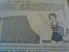 """PATRON ORIGINAL POUR LA POUPEE """" BLEUETTE PETIT MAILLOT DE BAIN AOUT 1933"""