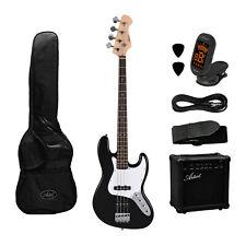 Artist JB2BK Electric Jazz Bass Guitar and Amplifier Starter Pack - Black