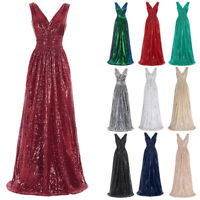 Sequins Dress Gown Engagement Long Sleeveless Shining Night party Womens New