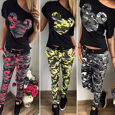 femmes Camouflage Mickey imprimé Ensemble de survêtement T shirt pantalon
