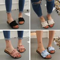 Vintage Women Sandals Flat Heel Summer Soft Ruffles Slipper Sandals Open Toe