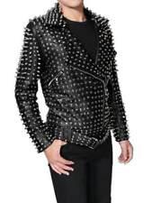 Men's Cowhide leather punk Full Silver studded black motorcycle jacket coat