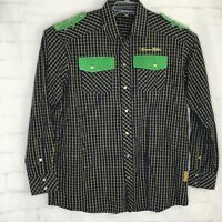 Crown Holder Mens Shirt Check Long Sleeve Shoulder Patches Size  3XL