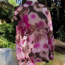 Vintage 60s  Floral Romancr top disco hippie retro blouse Mod Small Medium