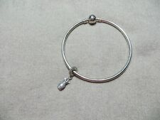 Authentic Pandora Sterling Round Bangle Bracelet w/1 Pave Dress Charm  8""