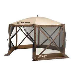 Clam Quick Set Escape Pop Up Camping Gazebo Canopy Screen Shelter, Brown (Used)