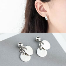 Ohrstecker Ohrhänger Runde Plättchen echt Sterling Silber 925 Damen Ohrringe