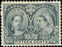 1897 Mint H Canada F-VF Scott #58 15c Diamond Jubilee Stamp