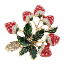 Vintage Enamel Rhinestone Strawberry Brooch Pin Scarf Collar Pin Jewelry