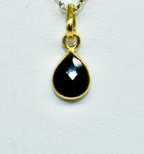Natural 1.27ctw Black Onyx 14k Yellow Gold /.925 Sterling Silver Pendant