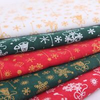 10Pcs Christmas Snowflake Printing Cotton Fabric DIY Sewing Patchwork Quilting