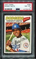 1977 Topps Baseball #386 MANNY MOTA Los Angeles Dodgers PSA 8 NM-MT !