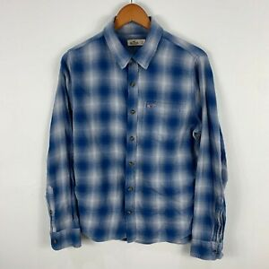 Hollister Mens Button Up Shirt Small Blue Plaid Long Sleeve Collared