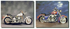 1986 FXR And Silver Harley Davidson Vintage Motorcycle Two Set Art Print (8x10)