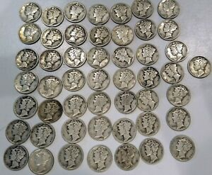 Full Roll of (50)  90% Silver Mercury Dimes  Mixed dates