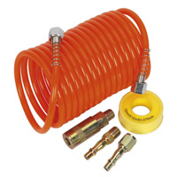 AHK03 Sealey Air Hose Kit 5mtr x Ø5mm PU Coiled with Connectors Hose 5-9mtr