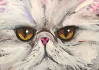 Broadway Original ACEO Impressionism 2.5x3.5 in. Persian Cat face painting