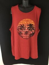 Men's maroon cotton T Shirt tank VANS beach tropical size L New with tags
