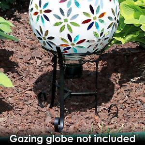 "Sunnydaze Gazing Globe Ball Stand fits 10"" or 12"" Globes - Black Steel - 9"""