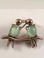 Chinese Cat's Eye Kissing Birds Brooch