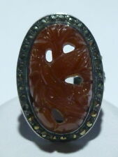ART NOUVEAU DECO CARVED CARNLEIAN STERLING SILVER MARCASITE WOMENS RING BAND