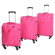"Set of 3 Jam Voyager 19"" 24"" 28"" Super Light Trolley Cases Suitcases Luggage Pink"