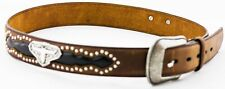 3d Belt Mens Western Leather Studs Longhorn Inlay Concho Brown 8812 36