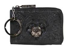 Harley Womens joy Ride Willie G Skull with Black Stones Black Leather Coin Purse