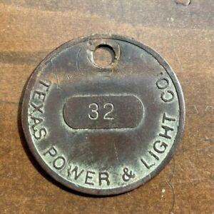 Texas Power & Light Co. Pole Tag Brass