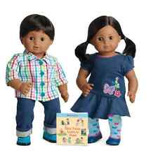 American Girl BItty Twins Dolls Dark Brown Hair, Brown Eyes Boy Girl 5G/5B  NEW