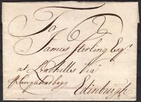 1753 WRAPPER TO EDINBURGH 'VIA SANQUHAR BAGS' WITH BLACK 15mm BISHOPS MARK