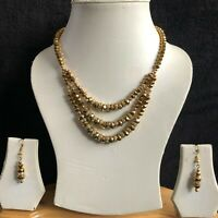 METALLIC GOLD INDIAN COSTUME JEWELLERY NECKLACE EARRINGS PEARL CRYSTAL SET NEW