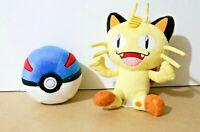 "TOMY Nintendo Pokemon Gen 1 MEOWTH 8"" + GREATBALL 5"" Plush Stuffed Animals"