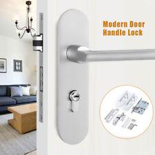 Low Noise! Door Handle Front Back Lever Aluminum Lock Latch Cylinder 3*Keys Kit