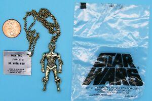 PENDANT necklace '77 vtg C-3PO Factors - Bag & Tag - Star Wars - ARMS MOVE!