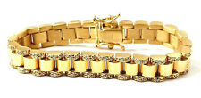 9ct Gold Baby Bracelet Rolex Style Cubic Zirconia Solid Yellow Gold Brand 20.2g