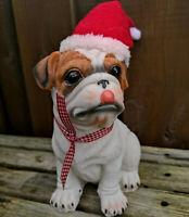 Weihnachtliche Hundefigur Hund OEB Englische Bulldogge Nikolaus Figur Dekofigur
