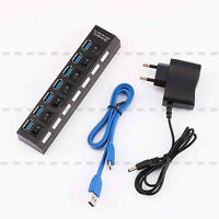 Plugable 7 Port USB3.0 HUB 5Gbps High Speed + AC Power Adapter For PC Laptop Mac