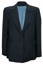 Simon Jersey Ladies Pinstripe One Button Lined Pure Wool Jacket Navy UK Size 16
