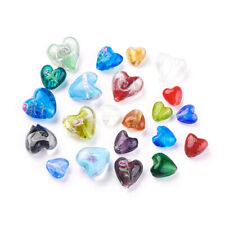 100 Random Handmade Lampwork Glass HEart Beads Smooth Silver Foil Charms 12~20mm