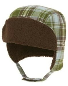 GYMBOREE LITTLE MILKMAN GREEN PLAID FUR TRAPPER LINED HAT 0 3 6 12 18 24 NWT