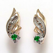 Russian Jewelry 14k Solid Rose & White Gold Columbia Emerald Earrings