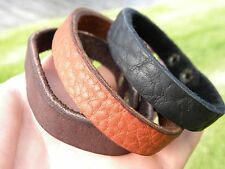 Men plain black or brown Bracelet customize size  Bison leather cuff wristband
