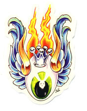 flaming eyeball sticker hot rod drag race tattoo kustom kulture rockabilly