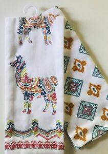 Set of 2 Cute Llama Kitchen tea towels Boho Hippie Chic Medallion Paisley cotton