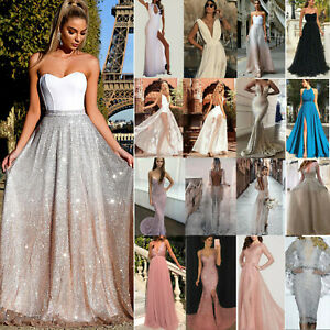 Women Lady Lace Formal Wedding Cocktail Evening Ball Gown Party Prom Maxi Dress